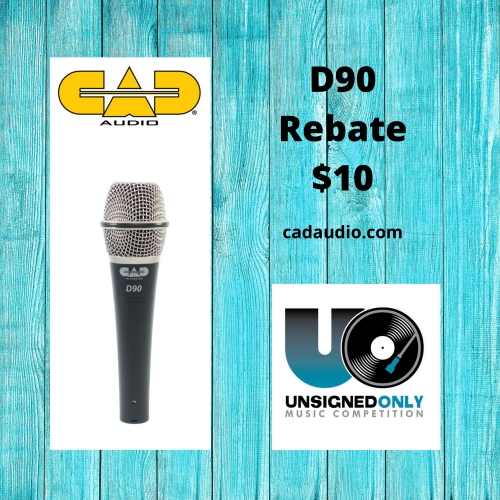 Get a $10.00 rebate on the purchase of a new CAD Audio D90 microphone